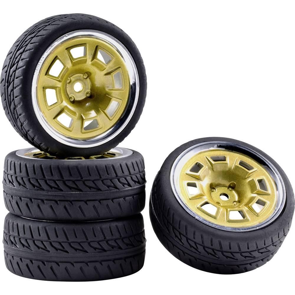 Reely 1:10 silniční model kompletní kola Racing design s otvory zlatá, chrom (lesklý) 4 ks