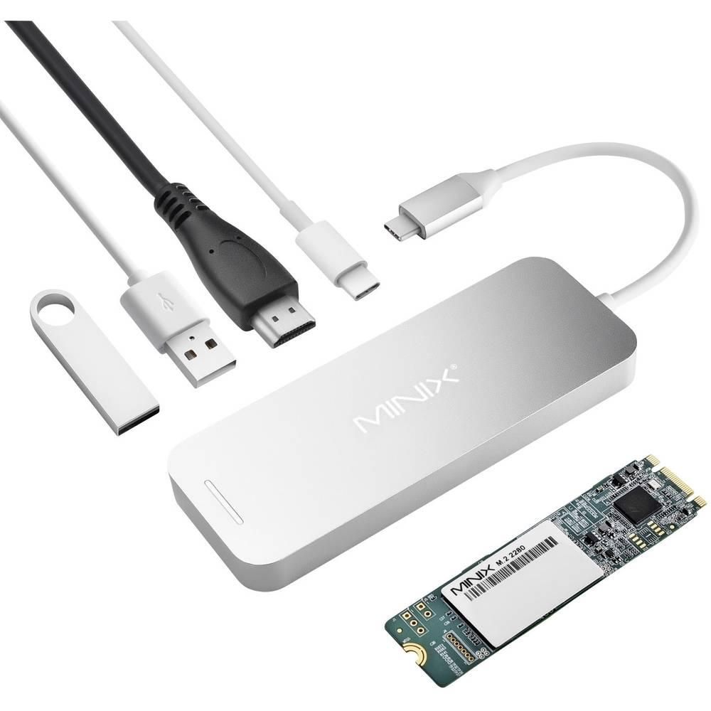 Minix dokovací stanice pro notebook šedá vhodné pro značky: Apple MacBook, MacBook Air, MacBook Pro vč. funkce nabíjení, vč. integrovaného SSD
