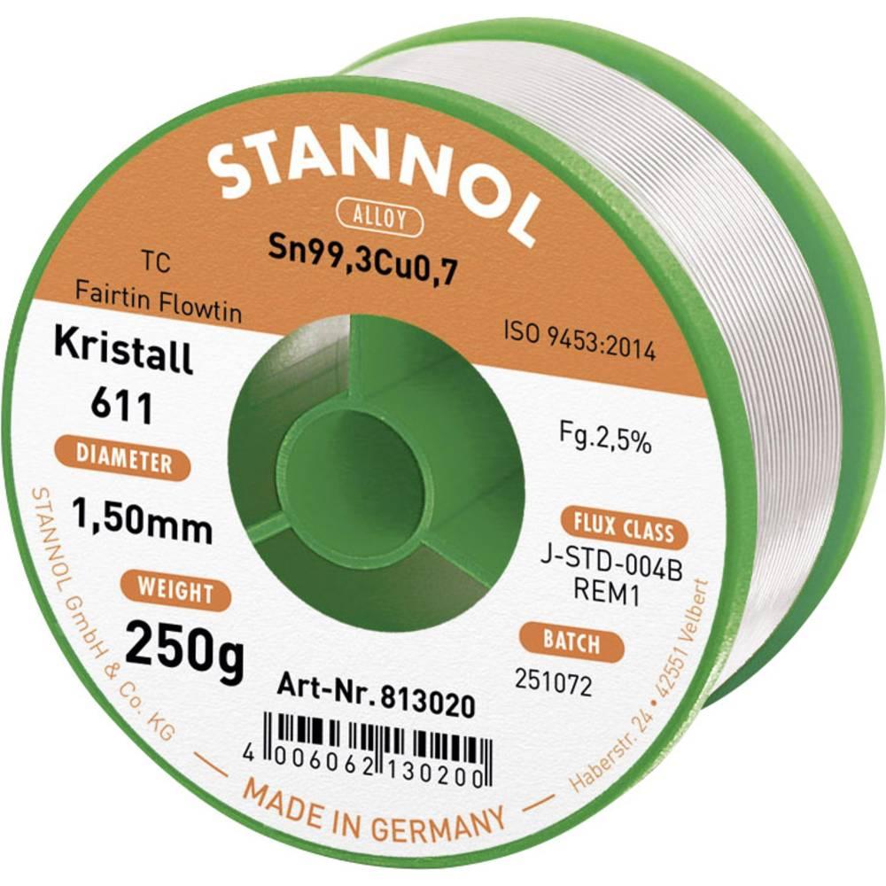 Stannol Kristall 611 Fairtin bezolovnatý pájecí cín bez olova Sn0.7Cu 250 g 1.5 mm