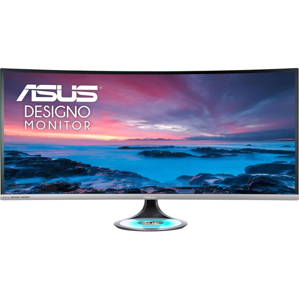 Asus MX38VC LCD monitor 95.3 cm (37.5 palec) Energetická třída (EEK2021) B (A+++ - D) 3840 x 1600 Pixel UWQHD 5 ms audio, stereo (jack 3,5 mm), HDMI™, USB 3.2 Gen 1 (USB 3.0), USB-C™, DisplayPort IPS LCD