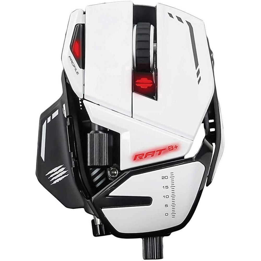 MadCatz R.A.T. 8+ USB herní myš optická ergonomická, s podsvícením, podložka pod zápěstí, úprava hmotnosti, integrovaná profilová paměť bílá, černá