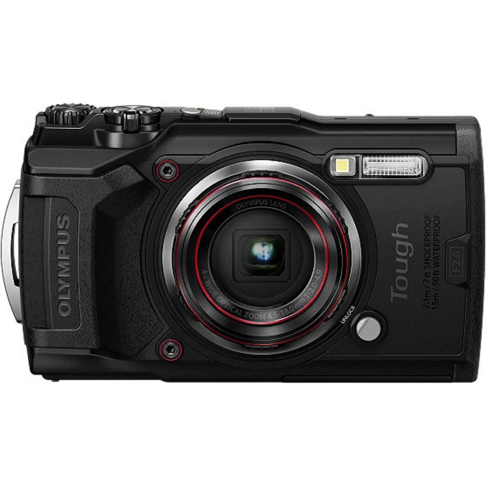 Olympus Tough TG-6 digitální fotoaparát 12 MPix Zoom (optický): 4 x černá GPS, odolný proti nárazu, vodotěsný do 15 m, odolný proti mrazu, prachotěsný, Wi-Fi, voděodolný, 4K video
