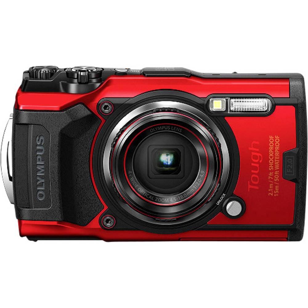 Olympus Tough TG-6 digitální fotoaparát 12 MPix Zoom (optický): 4 x červená GPS, odolný proti nárazu, vodotěsný do 15 m, odolný proti mrazu, prachotěsný, Wi-Fi, voděodolný, 4K video