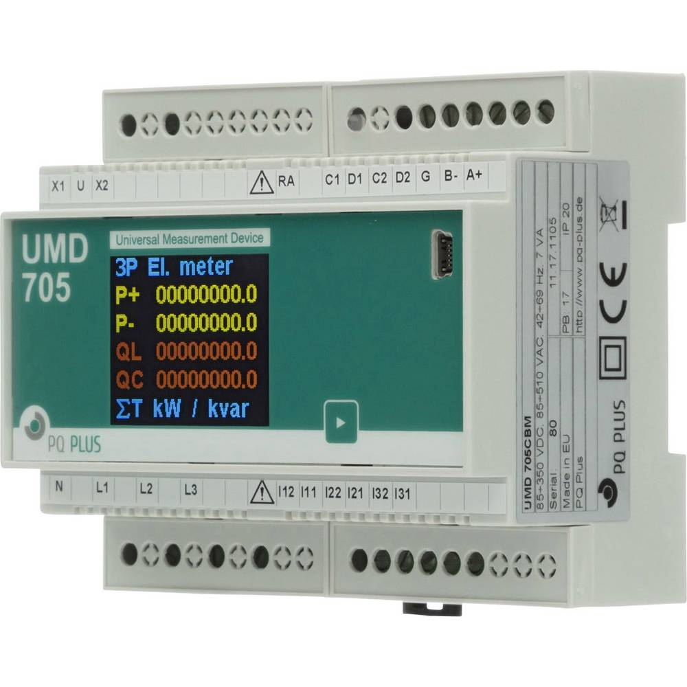 PQ Plus UMD 705CBM (24V) digitální měřič na DIN lištu UMD 705CBM (24V) univerzální měřicí přístroj na montážní lištu