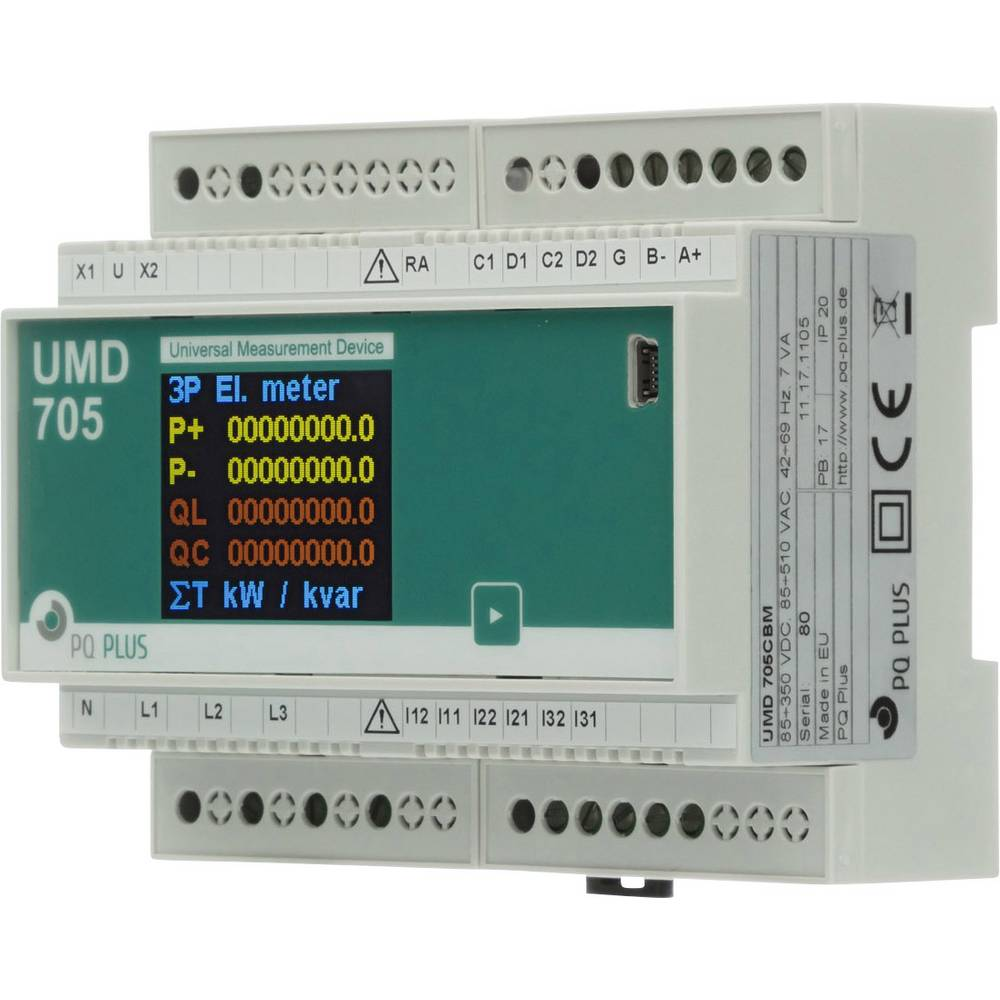 PQ Plus UMD 705CBM digitální měřič na DIN lištu UMD 705CBM (UH: 230 V / O:400 V / 5 A)