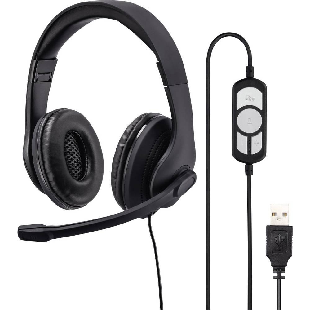 Hama headset k PC s USB na kabel, stereo na uši černá