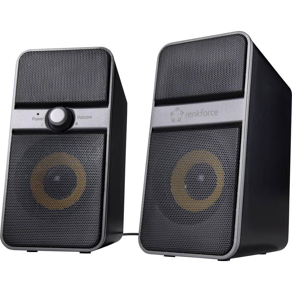 Renkforce 2.0 PC reproduktory Bluetooth®, kabelový 6 W černá, stříbrná