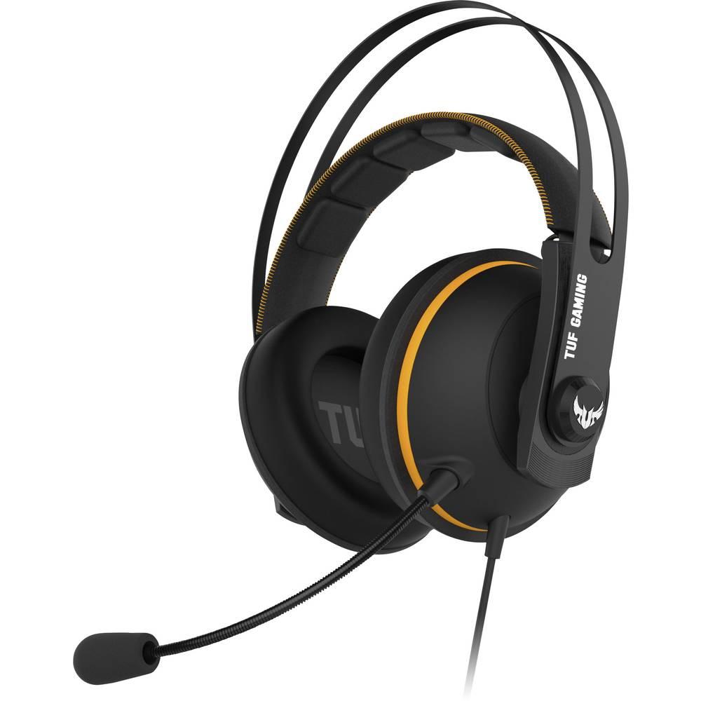 Asus TUF H7 herní headset s USB, jack 3,5 mm na kabel přes uši černá, žlutá