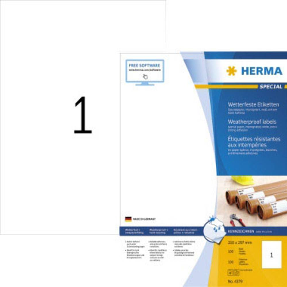 Herma 4379 etikety (A4) 210 x 297 mm papír, odolný proti povětrnostním vlivům bílá 100 ks extra silné etikety odolné proti vlivům počasí
