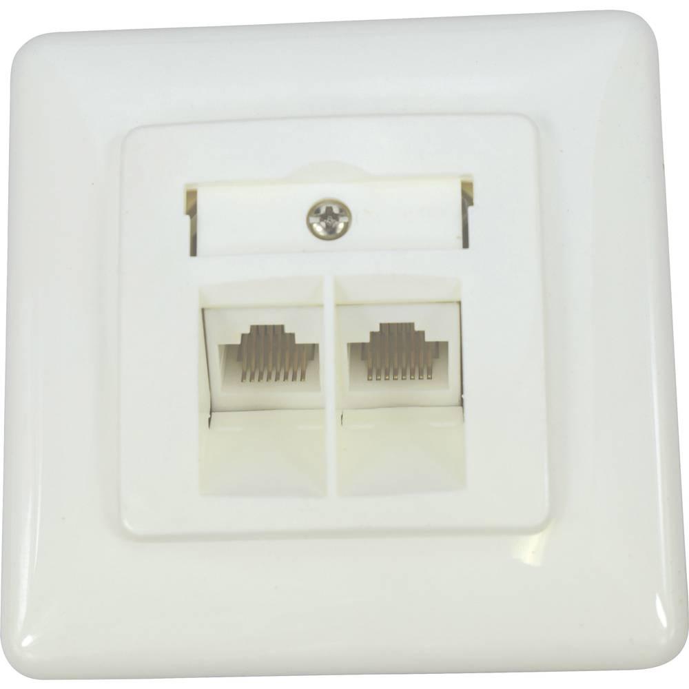 KOMOS 19822BBG ISDN zásuvka pod omítku, montáž na zeď čistě bílá (RAL 9010)