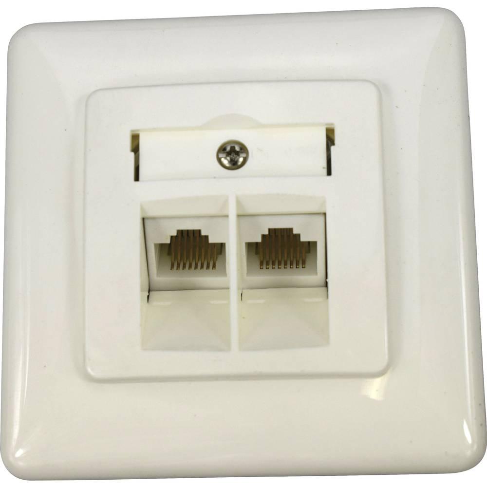 KOMOS 19822ABG ISDN zásuvka pod omítku, montáž na zeď čistě bílá (RAL 9010)