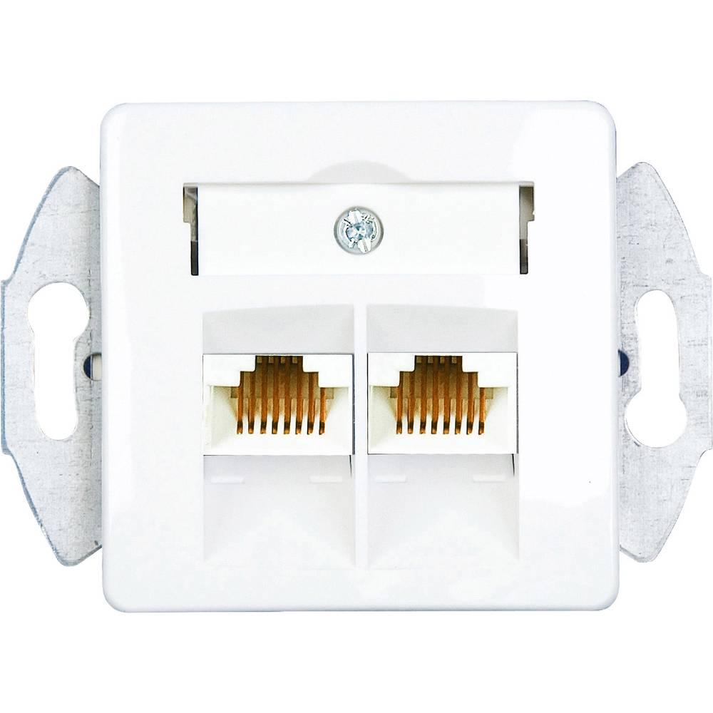 KOMOS 19821BBG ISDN zásuvka pod omítku, montáž na zeď čistě bílá (RAL 9010)