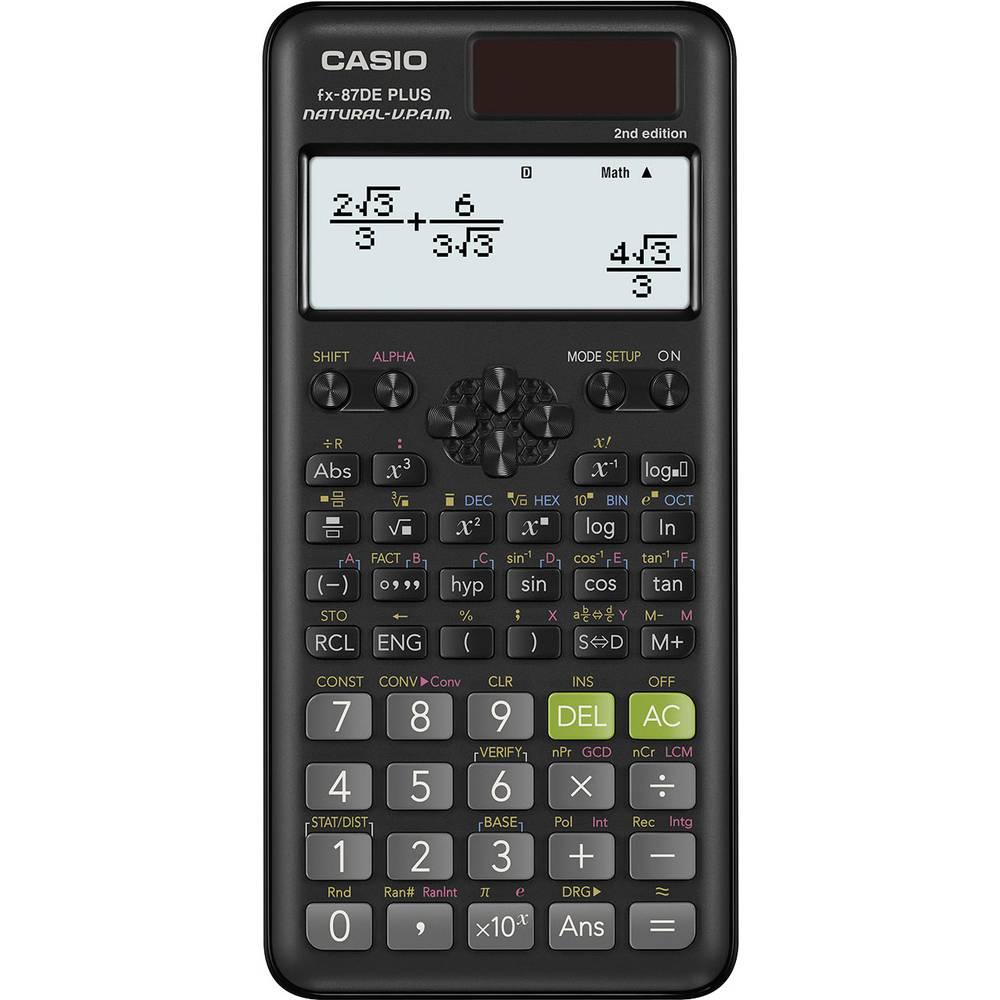 Casio FX-87DE PLUS-2 technicko-vědecký počítač černá Displej (počet míst): 12 solární napájení, na baterii (š x v x h) 77 x 11 x 162 mm