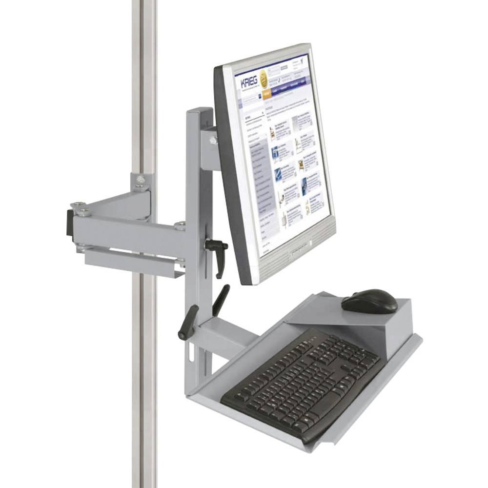 Manuflex ZB8287.9006 Ergonomie monitor nosič pro CANTOLAB a hliník s klávesnice a myši plochou, VESA adaptér 75 mm