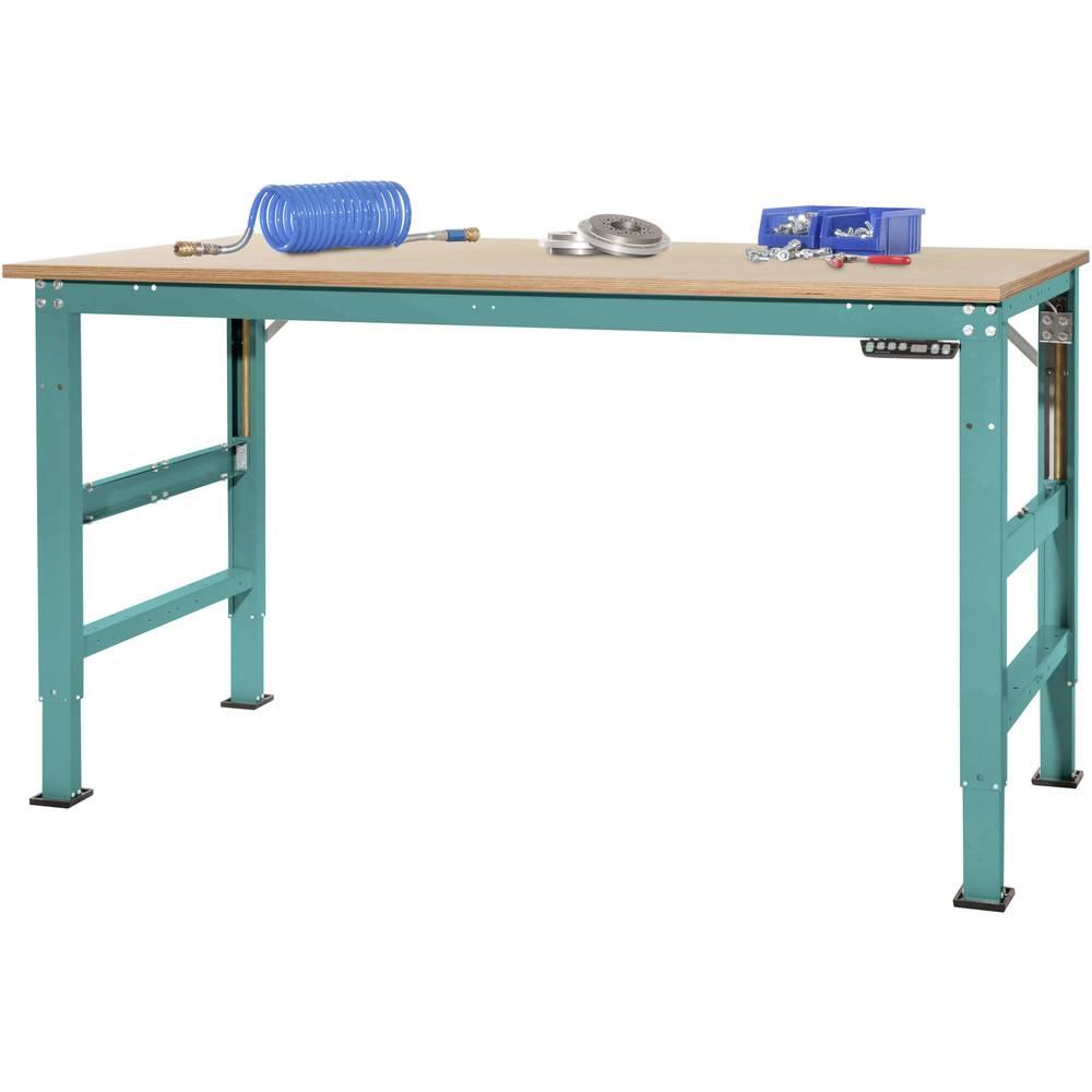 Manuflex AU9585.5021 Pracovní základní stolní univerzální Ergo E memory s multiplex deska, Šxhxv = 1750 x 800 x 722-1002 mm Barva: vodní modrá