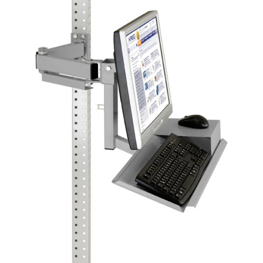 Manuflex ZB3626.9006 Standardní monitor nosič pro univerzální a PROFI s plocha klávesnice a myši, VESA adaptér 100 mm
