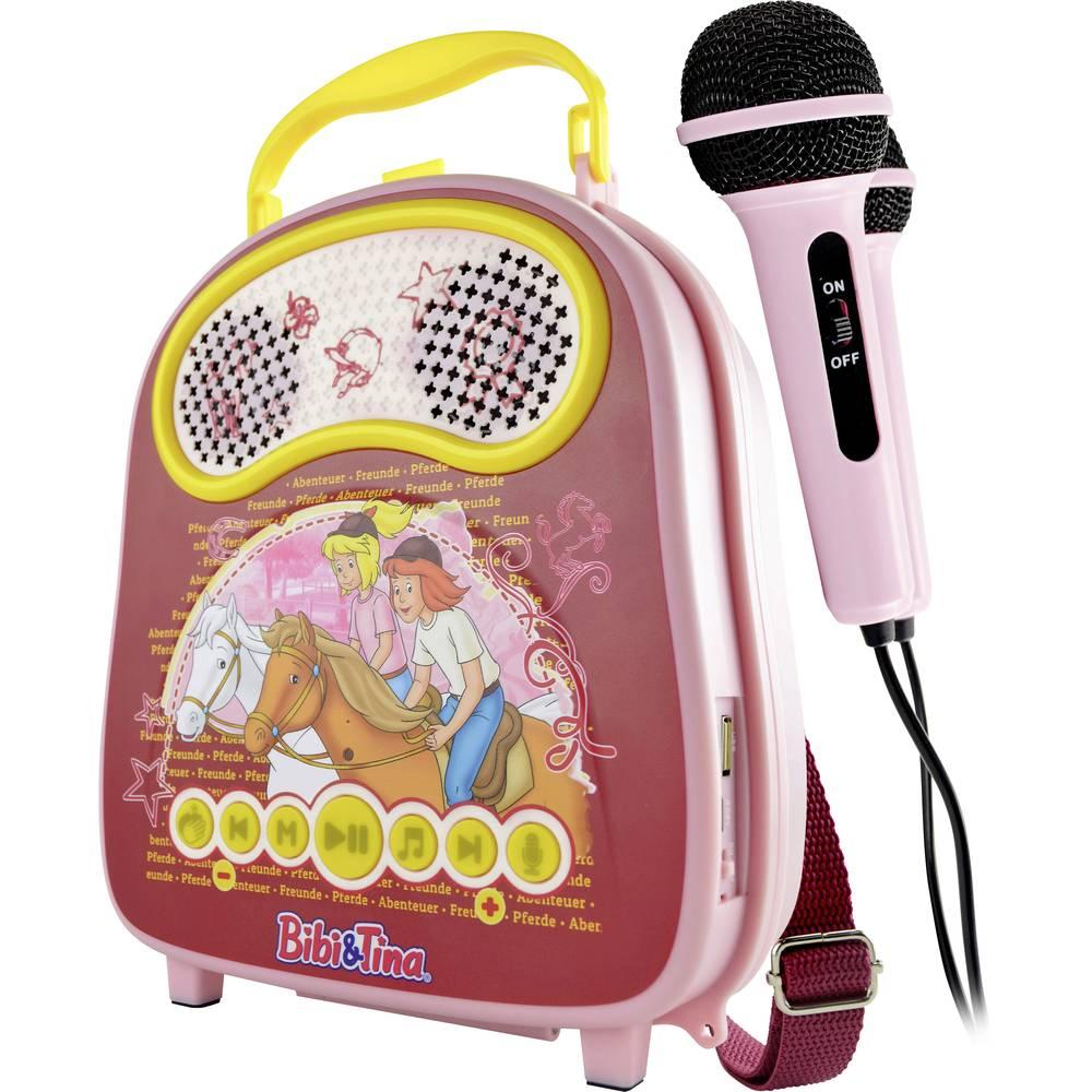 X4 Tech Bobby Joey Casey Music Bibi & Tina karaoke vybavení Bluetooth, USB včetně mikrofonu růžová