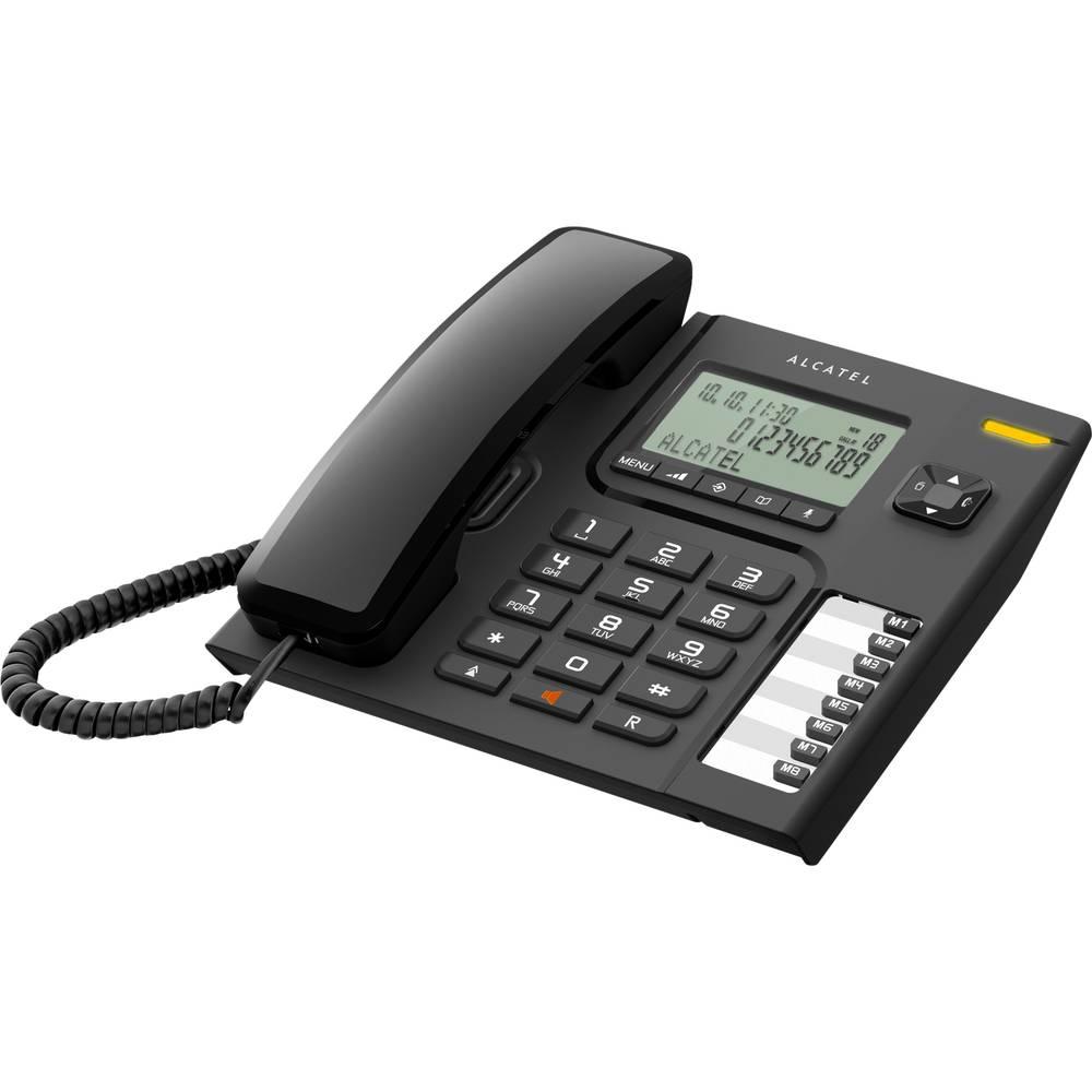 T76 šňůrový telefon, analogový handsfree LCD displej černá