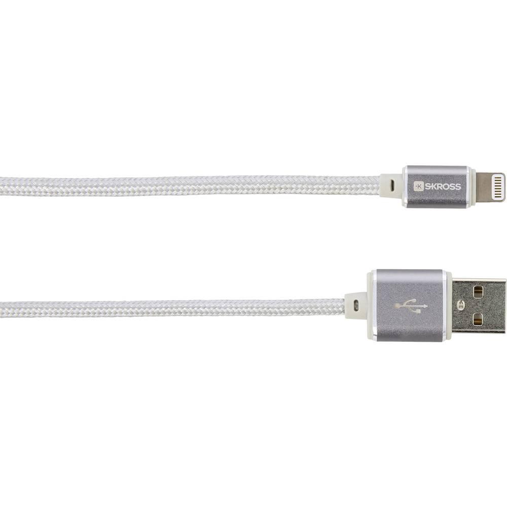 Skross iPod/iPhone/iPad Pro/iPad USB kabel [1x USB - 1x dokovací zástrčka Apple Lightning] 1.00 m stříbrná