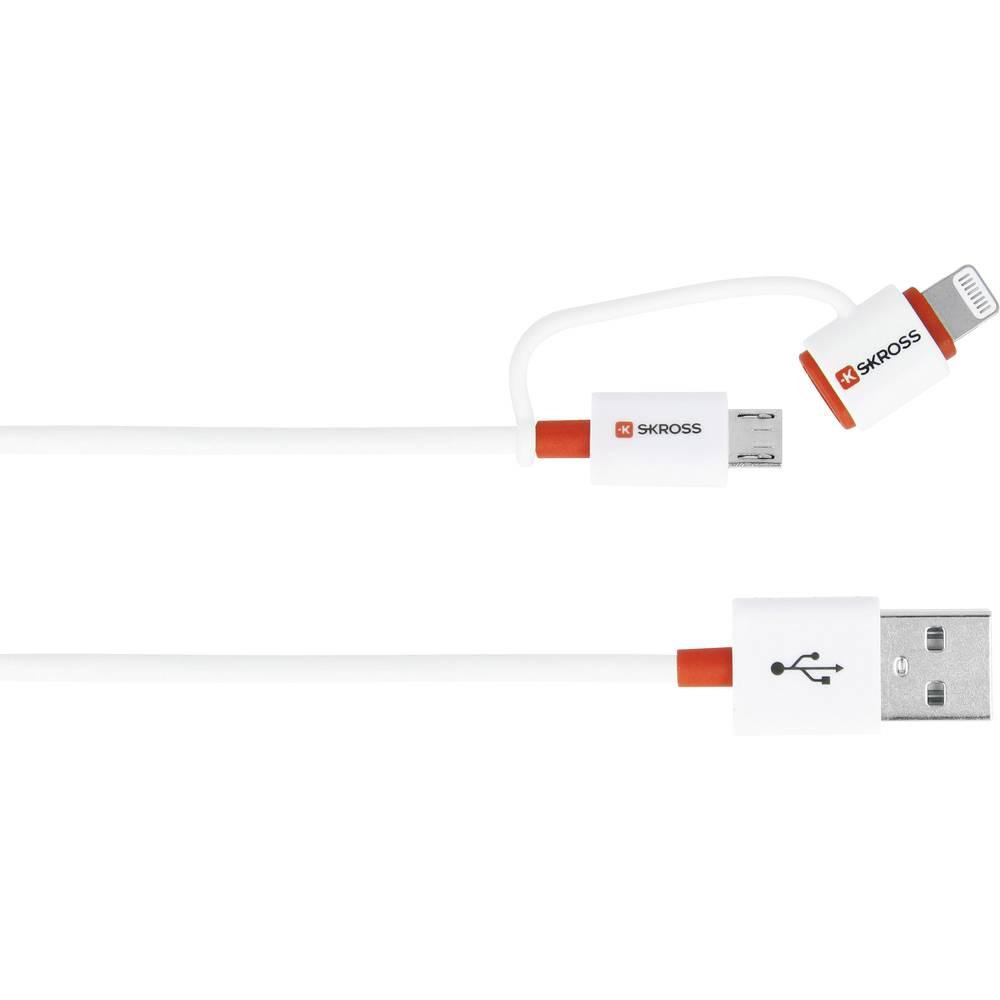 Skross iPod/iPhone/iPad Pro/iPad USB kabel [1x USB - 1x microUSB zástrčka, dokovací zástrčka Apple Lightning] 1.00 m bílá