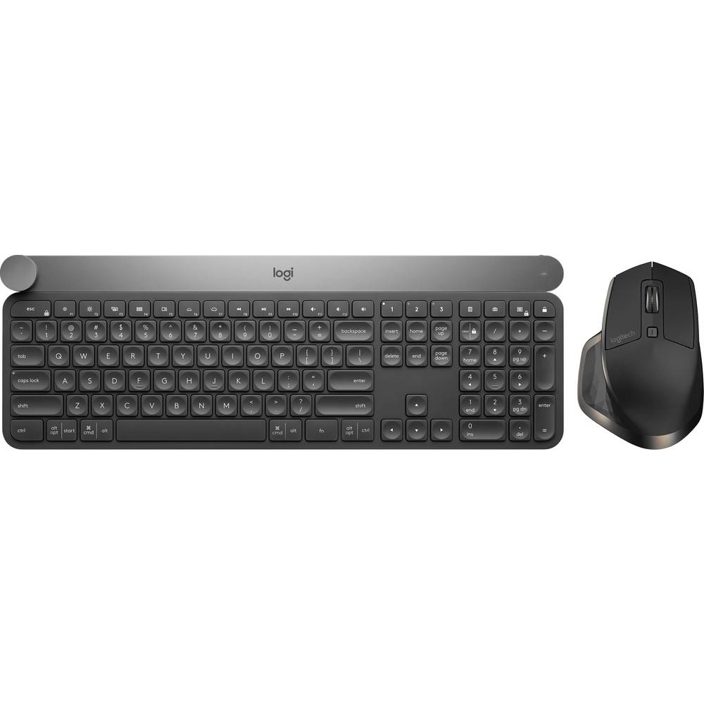 Logitech Craft Advanced + MX Master for Business USB, bezdrátový, Bluetooth® Sada klávesnice a myše německá, QWERTZ, Windows® černá s podsvícením