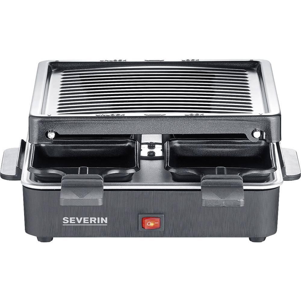 Severin 2370 raclette gril nepřilnavý povlak, 4 pánve, funkce grilování černá