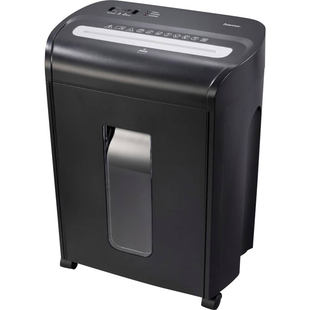 Hama Premium M10 skartovačka na proužky 3 x 9 mm 18 l Počet listů (max.): 11 Stupeň zabezpečení (skartovač) 3 Křížový řez CD, DVD, kreditní karty