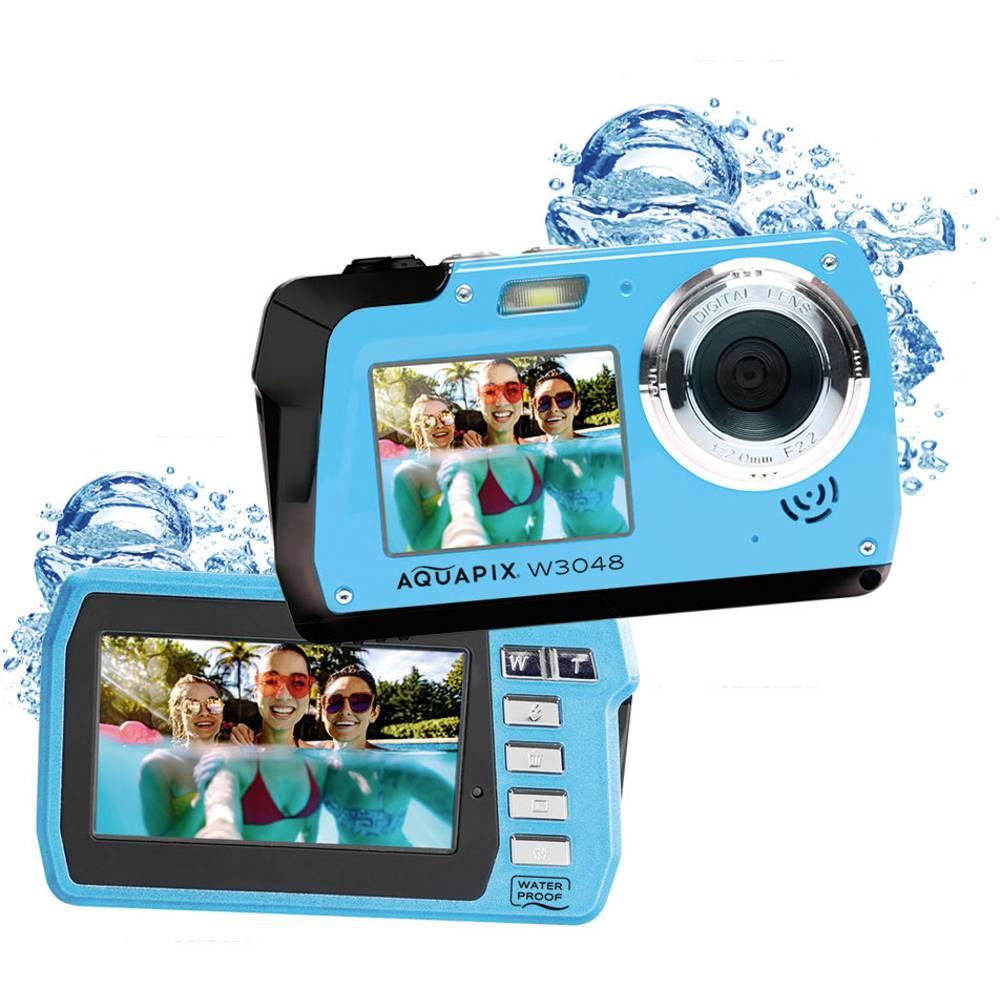 """Easypix W3048-I """"Edge"""" digitální fotoaparát 48 Megapixel Ice , modrá voděodolný, přední displej"""