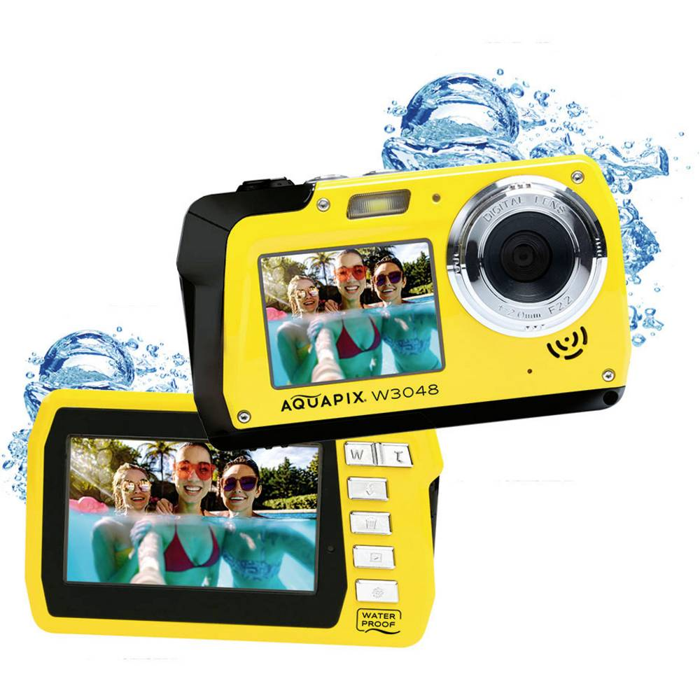"""Easypix W3048-Y """"Edge"""" digitální fotoaparát 48 Megapixel žlutá voděodolný, přední displej"""