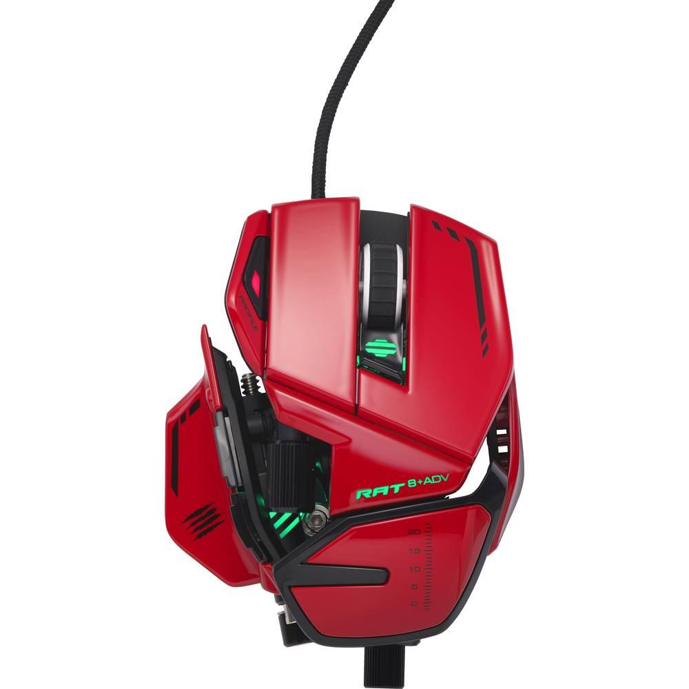 MadCatz R.A.T. 8+ ADV kabelový herní myš optická ergonomická, podložka pod zápěstí, úprava hmotnosti, integrovaná profilová paměť červená, černá
