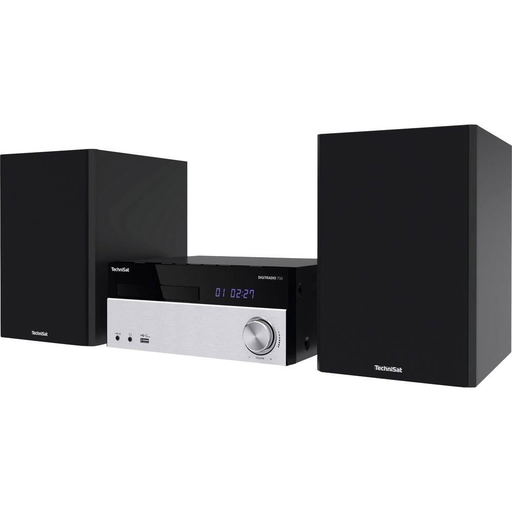TechniSat DIGITRADIO 750 stereo systém AUX, Bluetooth, CD, DAB+, FM, USB, vč. dálkového ovládání, včetně reproduktoru, Spotify 2 x 50 W černá/stříbrná