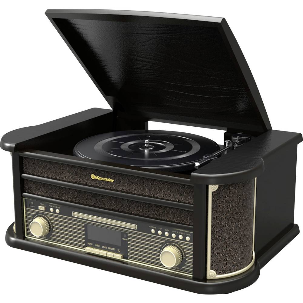 Roadstar HIF-1898D + BT gramofon řemínkový pohon černá (lesklá)