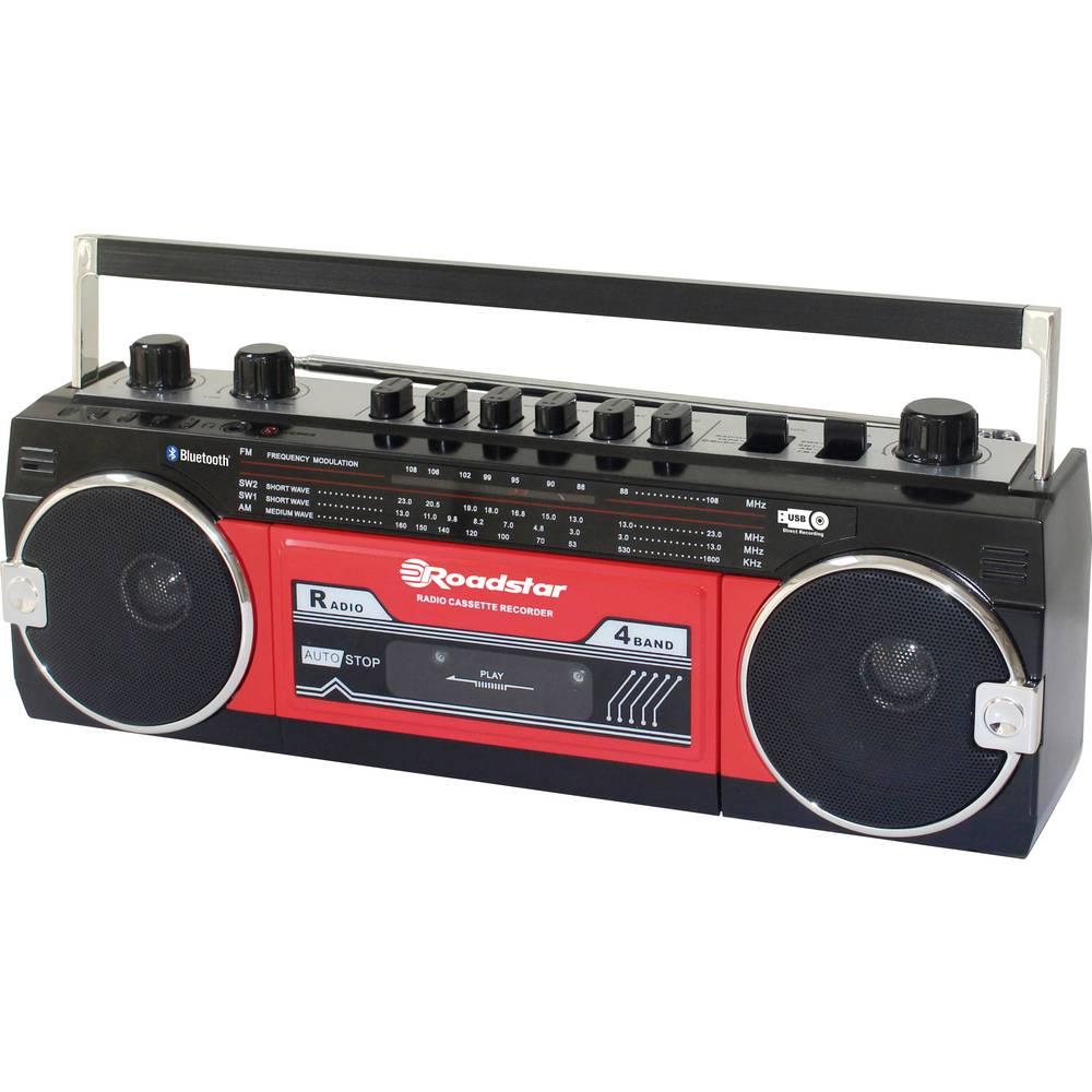 Roadstar RCR-3025EBT/RD přenosný přehrávač kazet Walkman na dotek výrazná tlačítka, funkce nahrávání, včetně mikrofonu červená, černá