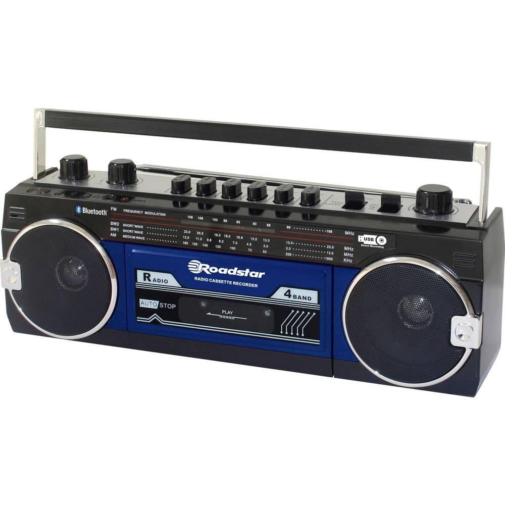 Roadstar RCR-3025EBT/BL přenosný přehrávač kazet Walkman na dotek výrazná tlačítka, funkce nahrávání, včetně mikrofonu modrá, černá