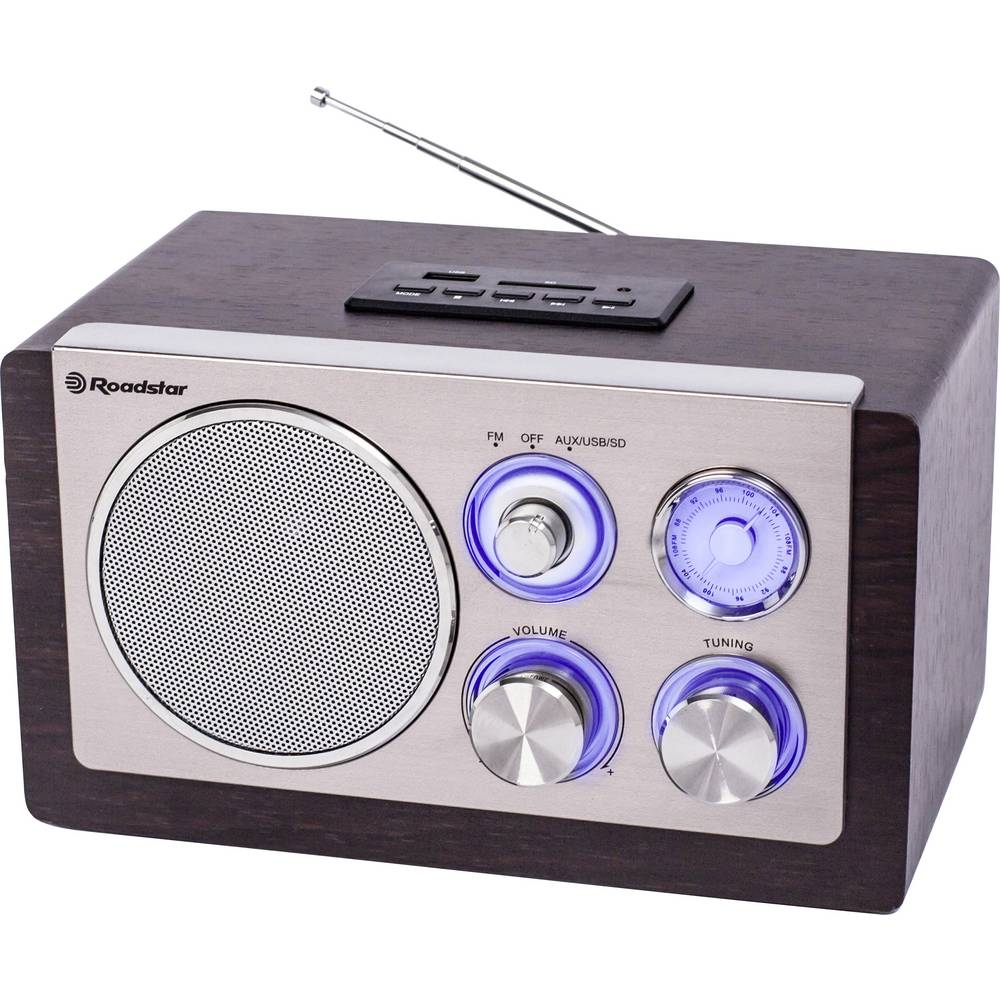 Roadstar HRA-1345N kuchyňské rádio FM, AM SD, AUX, USB dřevo, stříbrná