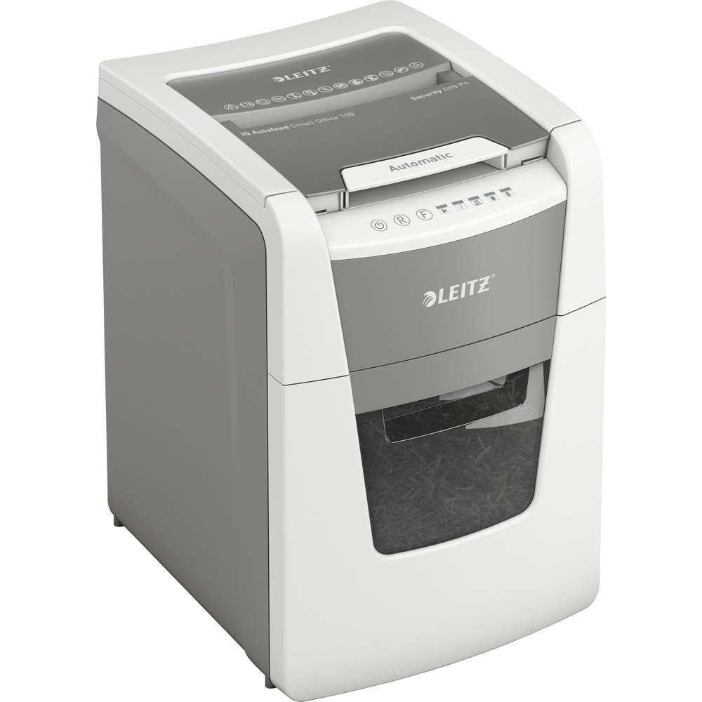 Leitz IQ Autofeed Small Office 100 skartovačka na kousky 34 l Počet listů (max.): 100 Stupeň zabezpečení (skartovač) 4 Křížový řez kancelářské sponky, sponky do sešívačky, kreditní karty