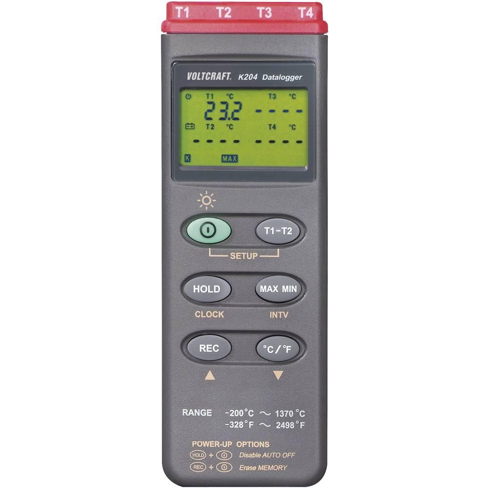 VOLTCRAFT K204 teploměr Kalibrováno dle (DAkkS) -200 do +1370 °C typ senzoru K funkce dataloggeru