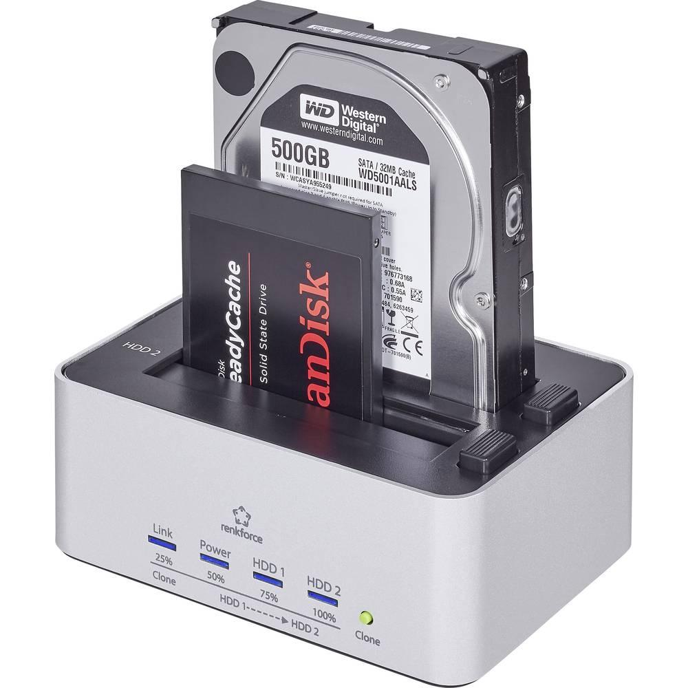 Renkforce rf-docking-07 USB 3.2 Gen 1 (USB 3.0) SATA 2 porty dokovací stanice pro pevný disk s funkcí klonování
