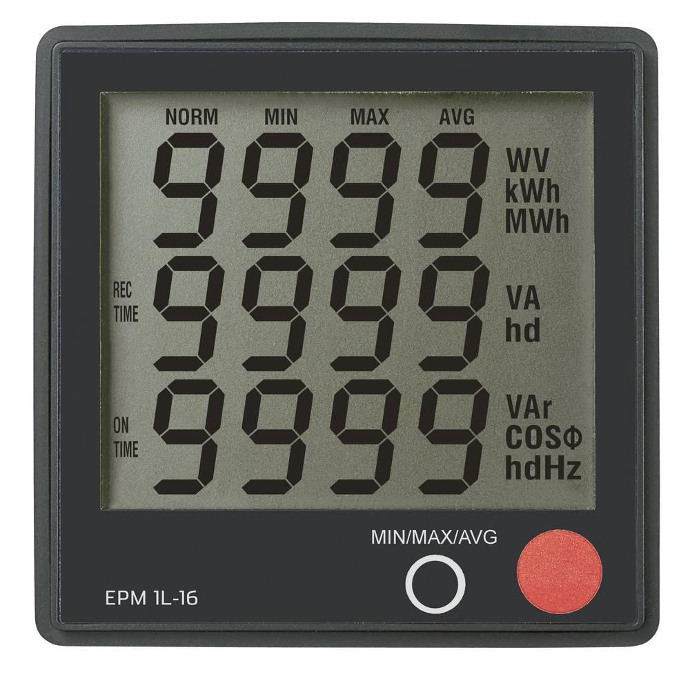 VOLTCRAFT EPM 1L-16 digitální panelový měřič Digitální vestavný měřící přístroj Voltcraft EPM 1L-16 Napětí: 190 až 250 V AC • Proud: 0 až 16 A • Cosphi: 0 až 1,0 • Výkon (příkon): 0 až 3680 W