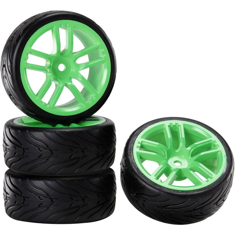 Reely 1:10 silniční model kompletní kola Devil GT neonově zelená 4 ks