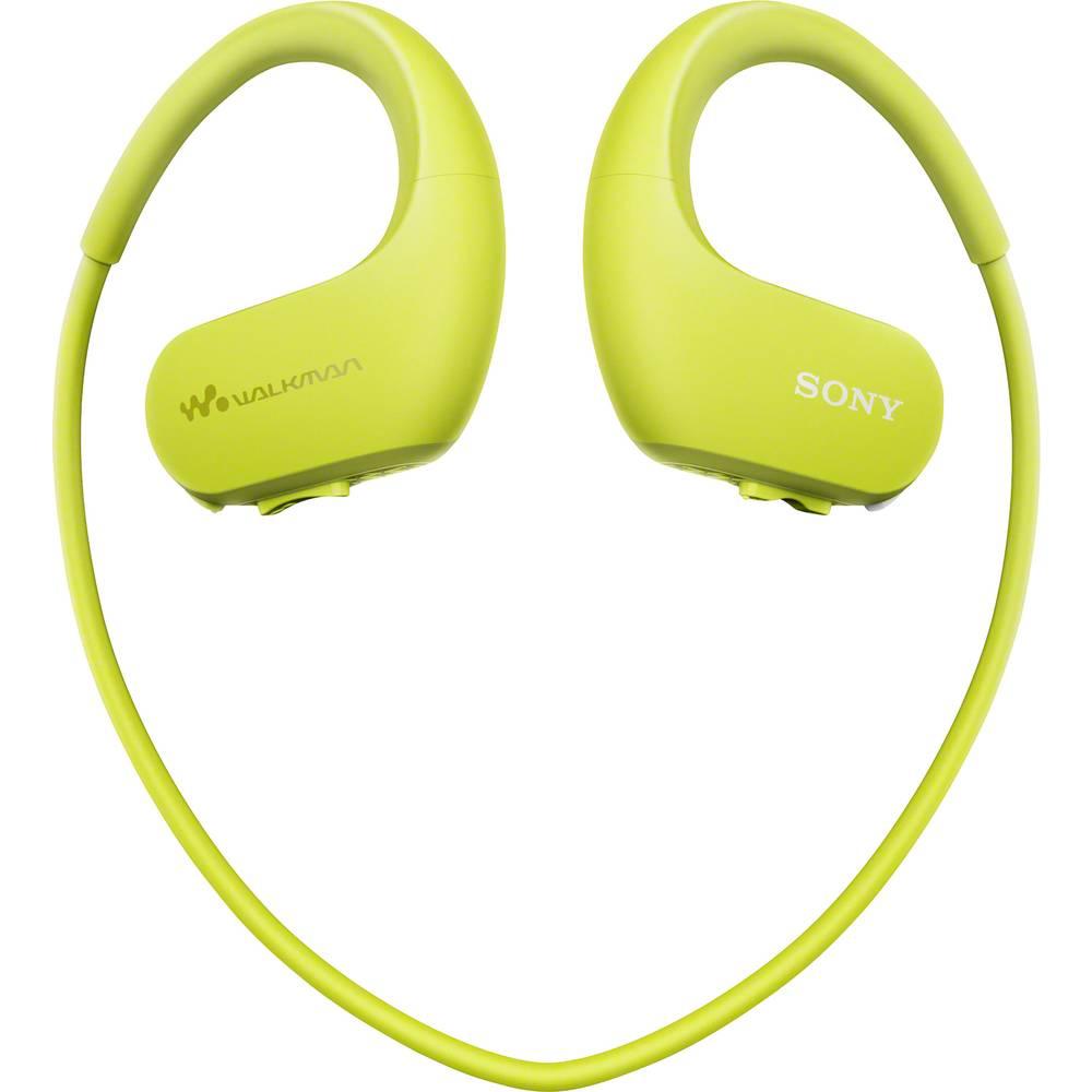 Sony NW-WS413G sportovní špuntová sluchátka do uší MP3 přehrávač, za uši, voděodolná limetkově zelená