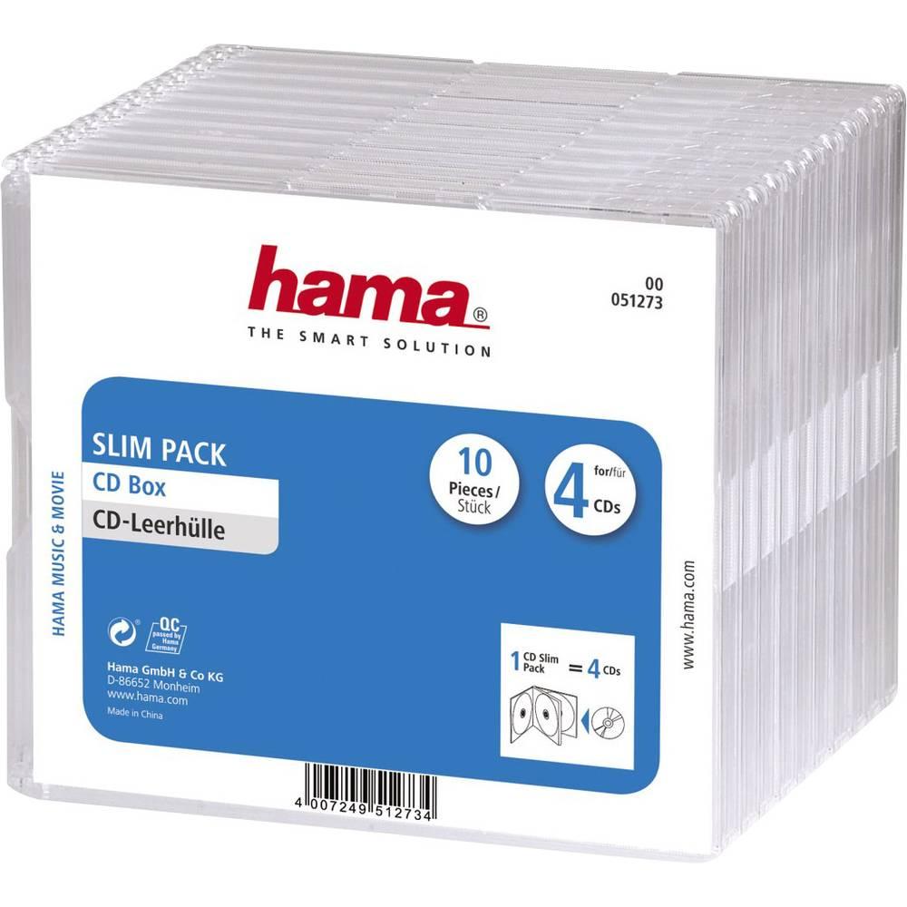 Hama 4násobná útlý obal na CD 4 CD/DVD/Blu-ray polystyrol transparentní 10 ks (š x v x h) 142 x 124 x 10 mm 00051273