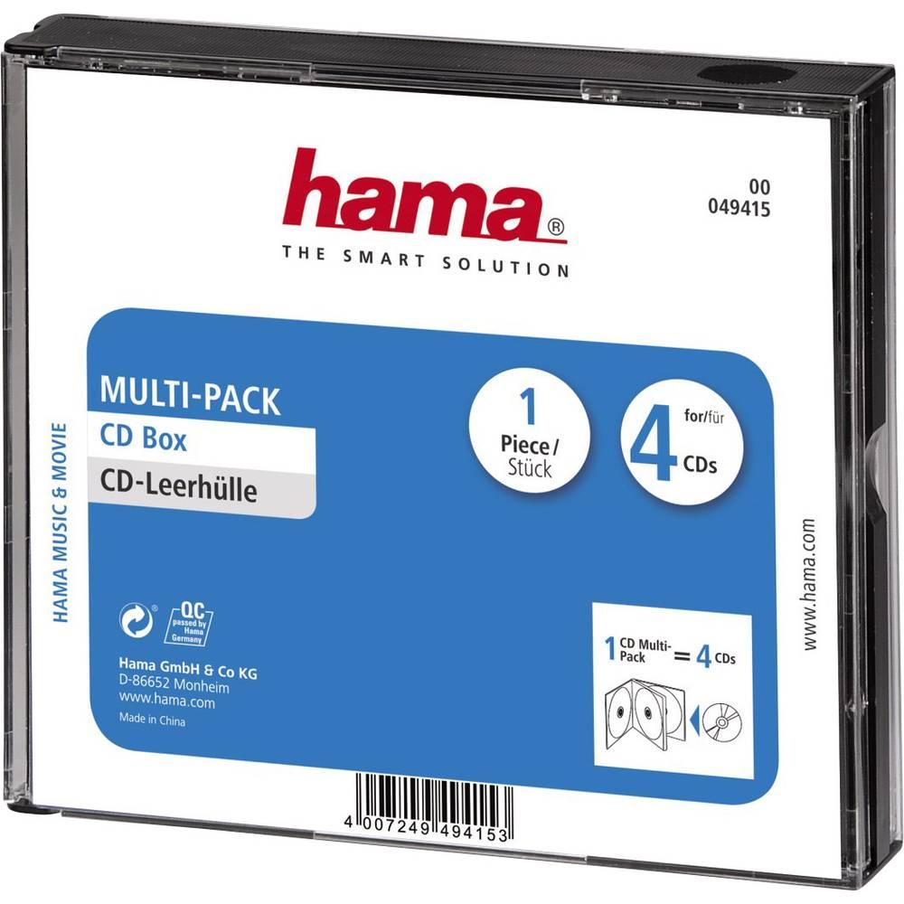 Hama 4násobná obal na CD 4 CD/DVD/Blu-ray polystyrol černá 1 ks (š x v x h) 142 x 125 x 24 mm 00049415