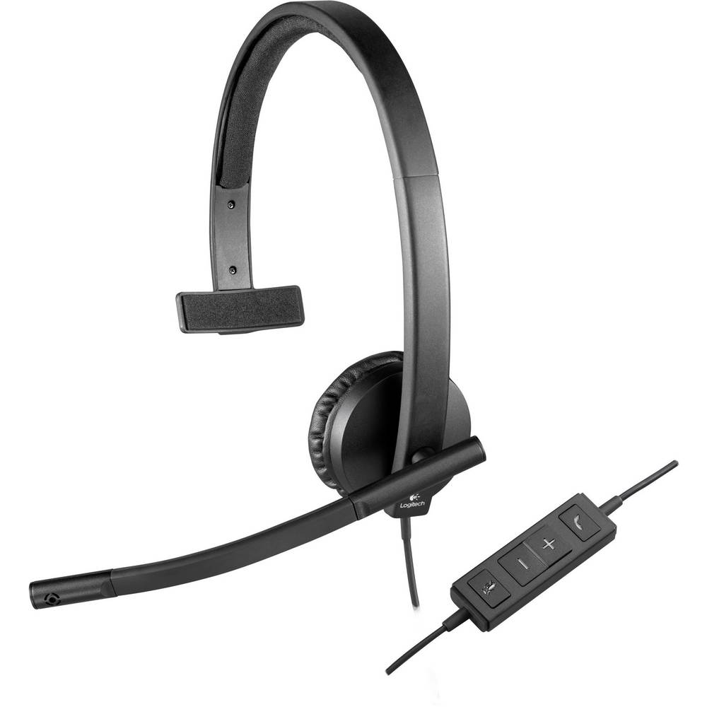 Logitech H570e headset k PC s USB mono, na kabel přes uši černá