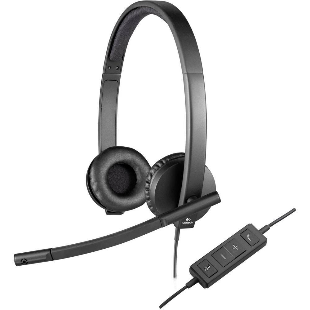 Logitech H570e headset k PC s USB stereo, na kabel přes uši černá
