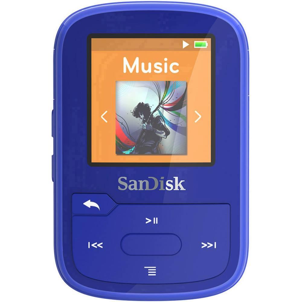 SanDisk MP3 přehrávač 16 GB modrá upevňovací klip, Bluetooth, voděodolný