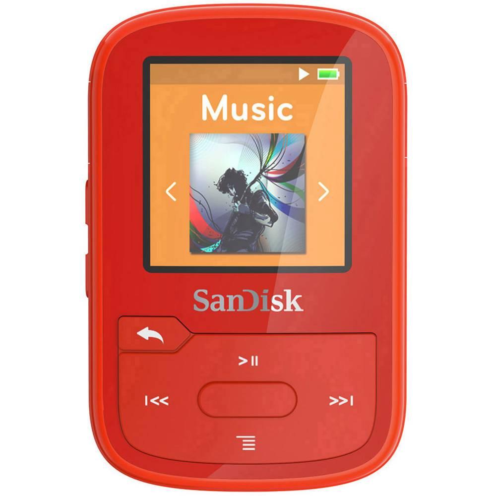 SanDisk MP3 přehrávač 16 GB červená upevňovací klip, Bluetooth, voděodolný