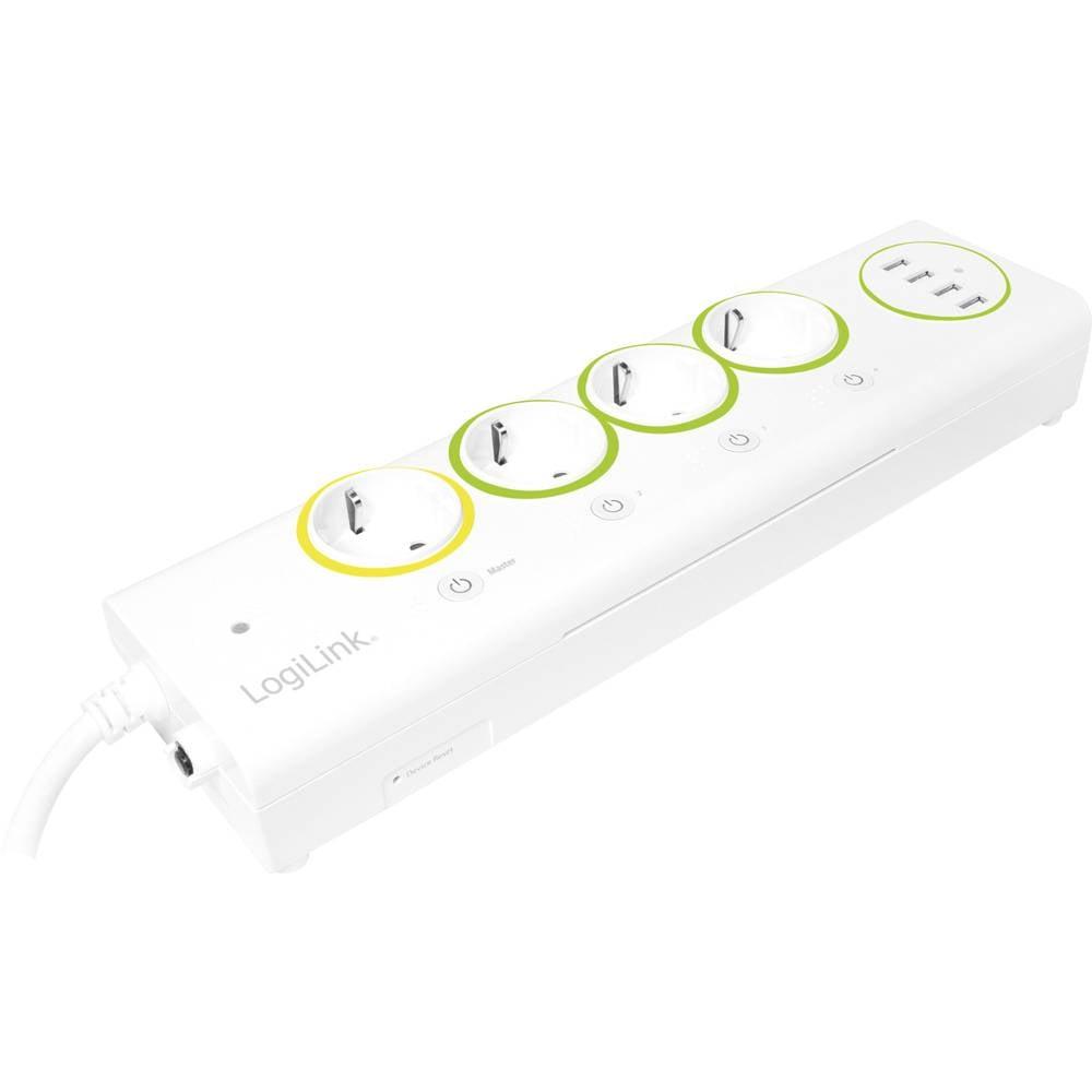 LogiLink PA0130 zásuvková lišta s Wi-Fi bílá, zelená, žlutá DE schuko zástrčka/zásuvky 1 ks