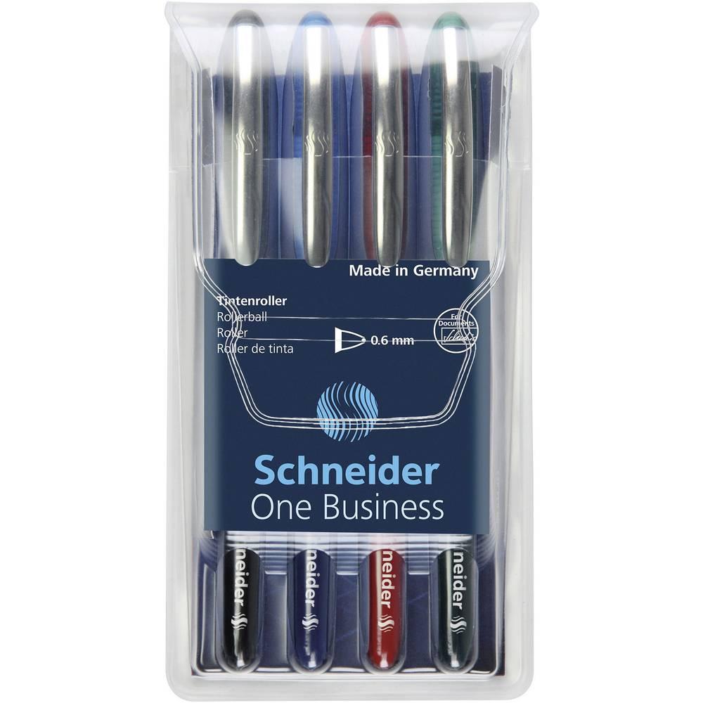 Schneider inkoustové kuličkové pero One Business 0.6 mm modrá, zelená, červená, černá 183094 4 ks/bal. 1 ks