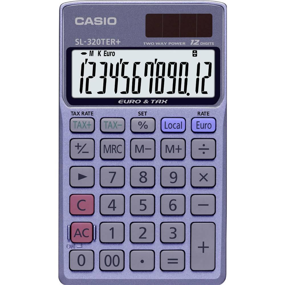 Casio SL-320TER+ kapesní kalkulačka modrá Displej (počet míst): 12 solární napájení, na baterii (š x v x h) 70 x 8 x 118.5 mm